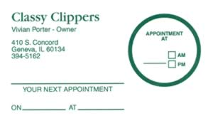 Sample of appointment card with removable label - 5971