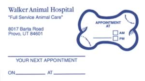 Sample of appointment card with removable label - 5973