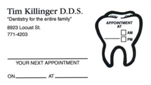 Sample of appointment card with removable label - 5974