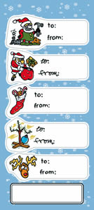 sample of removable to and from stickers for the holiday season