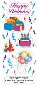 image of birthday removable stickers with custom imprint